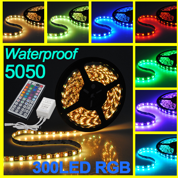 5M 300 LED 5050 Waterproof RGB SMD Flexible Lamp Strip Light +44 Key IR Remote